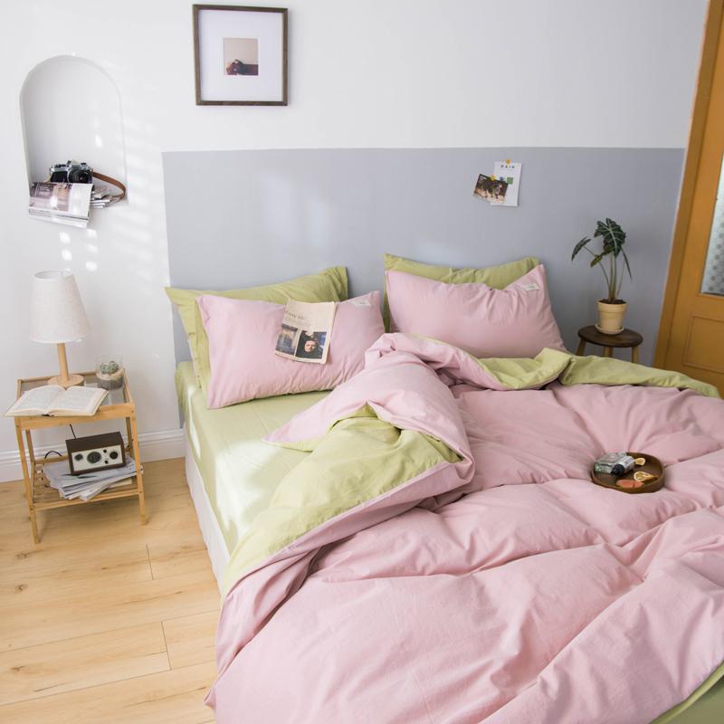 纯色水洗棉粉色四件套纯棉素色床单被套全棉简约北欧床笠款4件套
