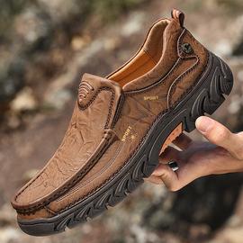 男士一脚蹬户外防滑厚底大码登山鞋加绒棉鞋爸爸真皮男士休闲皮鞋