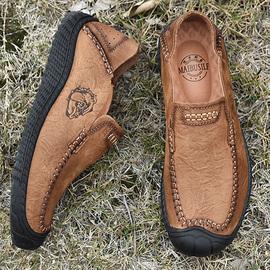 头层牛皮男士户外休闲鞋真皮防水豆豆鞋懒人英伦一脚蹬爸爸皮鞋子图片