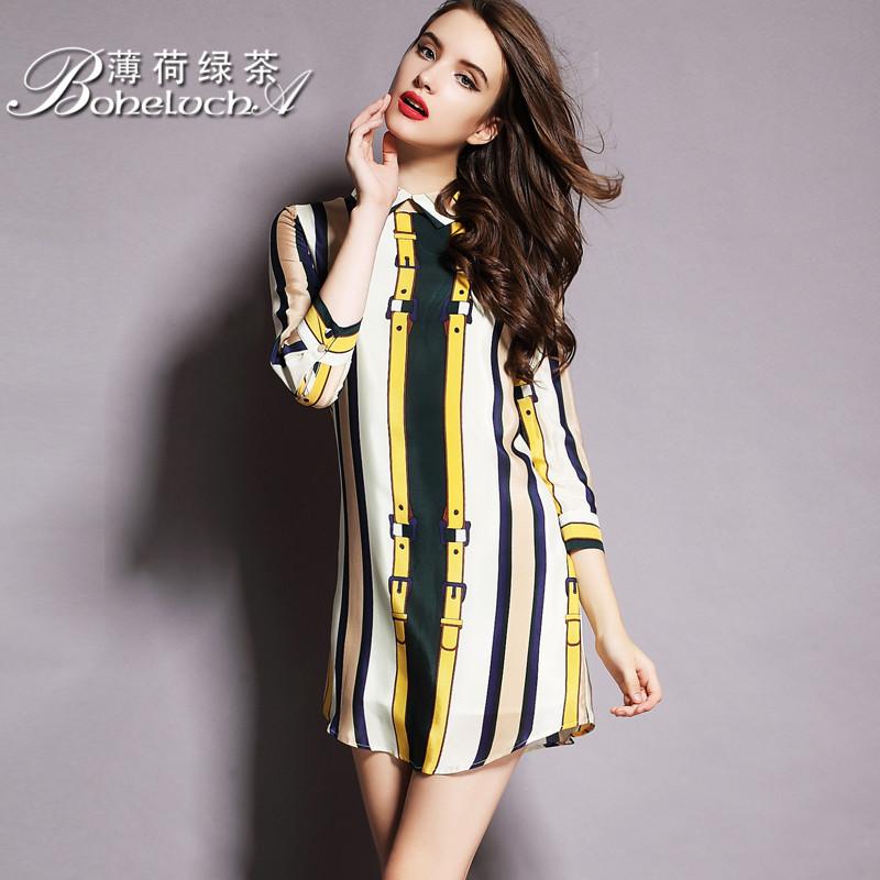 黄色真丝连衣裙
