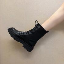 新款学生厚底内增高瘦瘦靴短靴透气机车靴子女2019马丁靴女英伦风