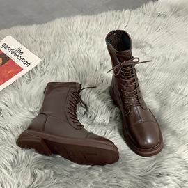 棕色瘦瘦靴炸街单靴2021年春夏季新款马丁靴女英伦薄款短靴骑士靴