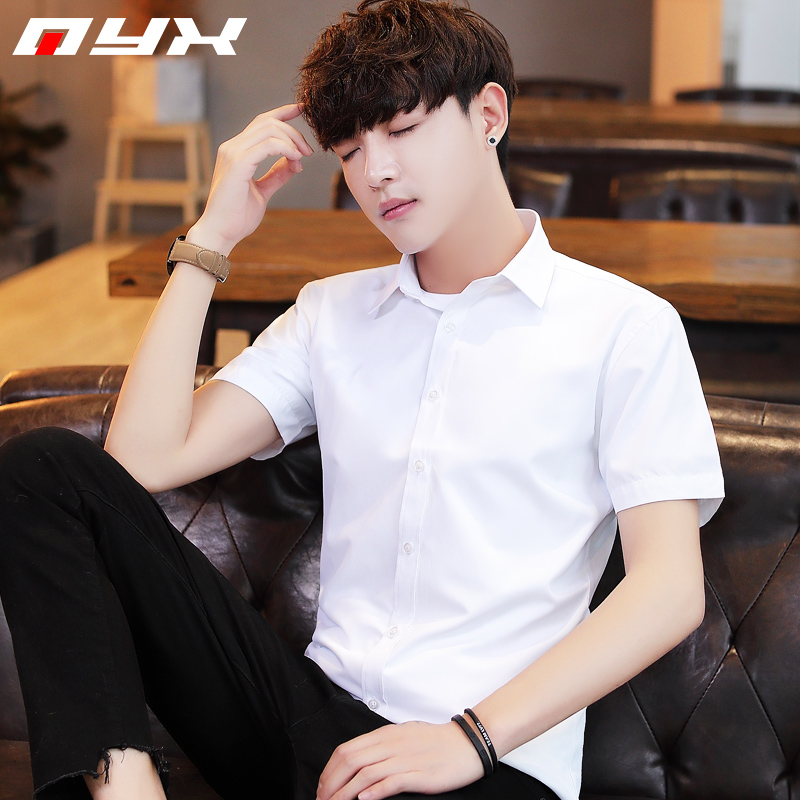 Summer men's Short Sleeved Shirt Youth Korean slim solid white shirt boys' small fresh art inch fashion
