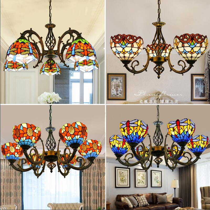 American style simple style iron art European style living room chandelier Tiffany lighting versatile country garden bedroom dining room lamp