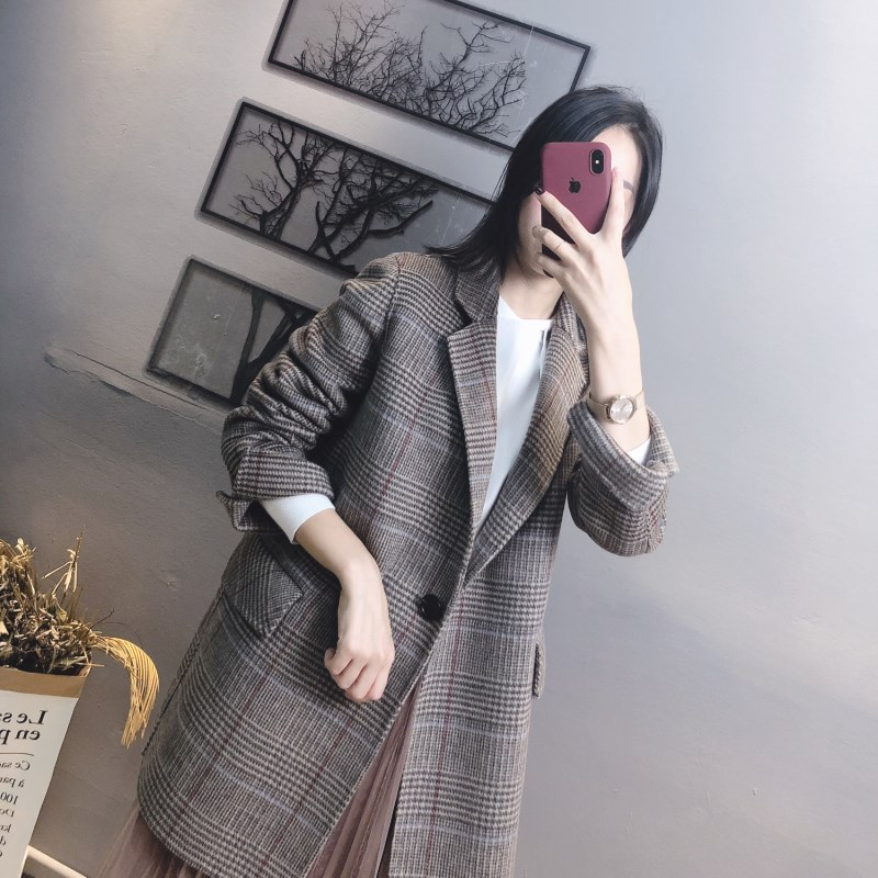 Meidaihua autumn and winter double faced cashmere coat womens medium and long popular Plaid Han suit Vintage Wool Coat