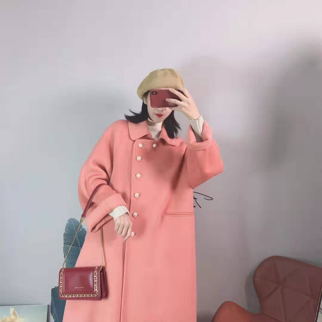Meidaihua summer poetry the same style of autumn and winter new anti season wool double faced overcoat medium length womens Republic of China style coat