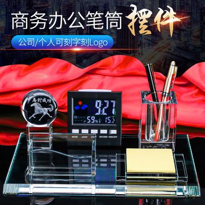 Crystal pen holder decoration five-piece desktop set table perpetual calendar carved LOGO lettering custom made souvenirs