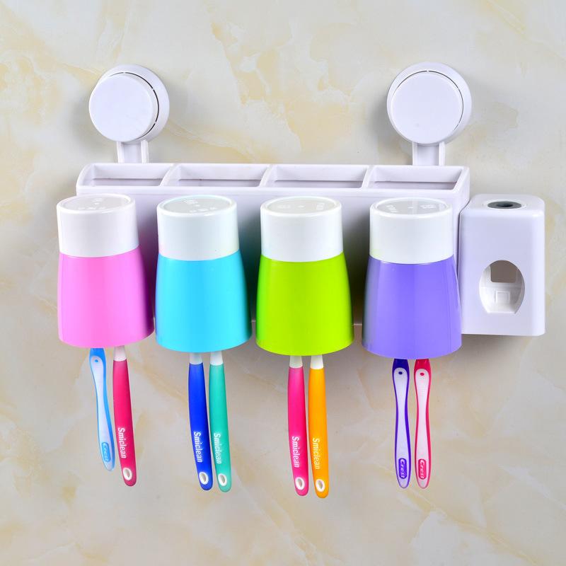 全自動擠牙膏器洗漱套裝牙刷架漱口杯帶杯四口之家吸壁