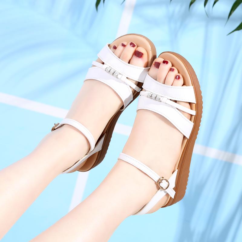 妈妈平底鞋夏季新款真皮百搭凉鞋11月06日最新优惠