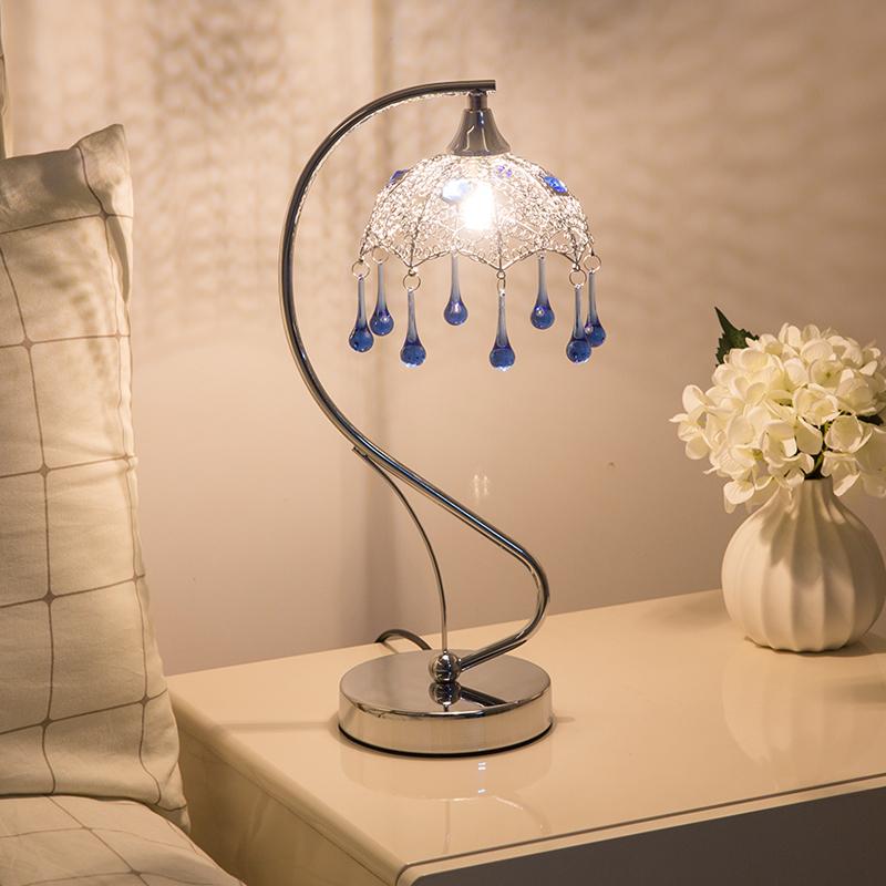 水晶滴简约装饰客厅卧室玻璃台灯