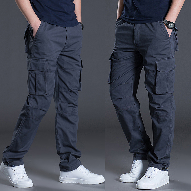 Overalls men's pants casual work clothes labor insurance wear-resistant straight loose spring and autumn thin section multi-pocket summer thickening