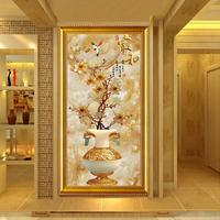 钻石画满钻新款2019现代客厅家和富贵玉兰花玄关竖版钻石绣十字绣