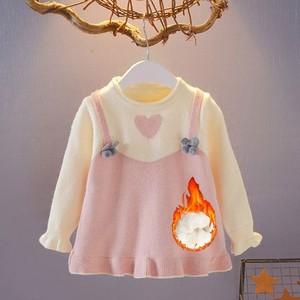 秋冬婴儿装衣服女童款针织1-2-3-4加厚中长宝宝岁衫加绒套头毛衣