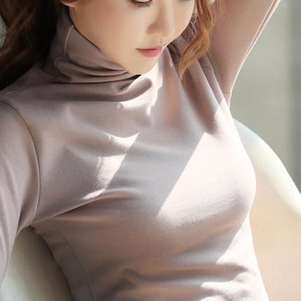 【2件59元】秋冬高领打底衫女2018新款长袖t恤女韩版加绒上衣体恤