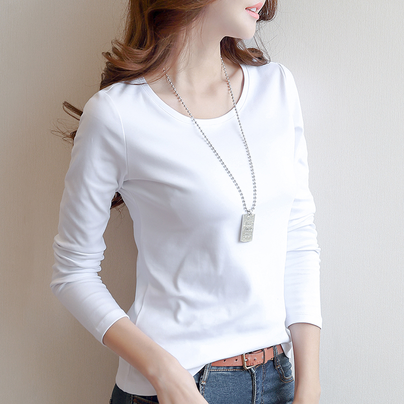 秋装女2018棉质白色长袖t恤女装打底衫修身纯色体恤韩版新款上衣