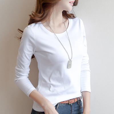 春季女2019棉质白色长袖t恤女装打底衫修身纯色体恤韩版新款上衣