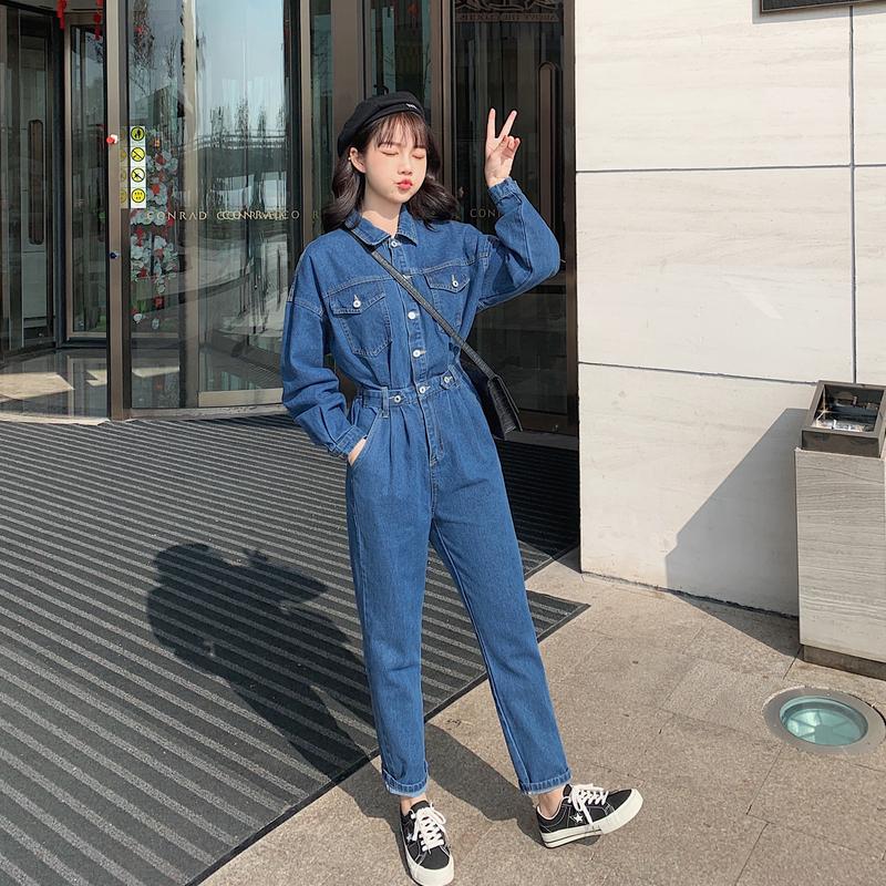 牛仔连体裤女宽松春秋季2020年新款韩版收腰显瘦小个子连衣裤套装