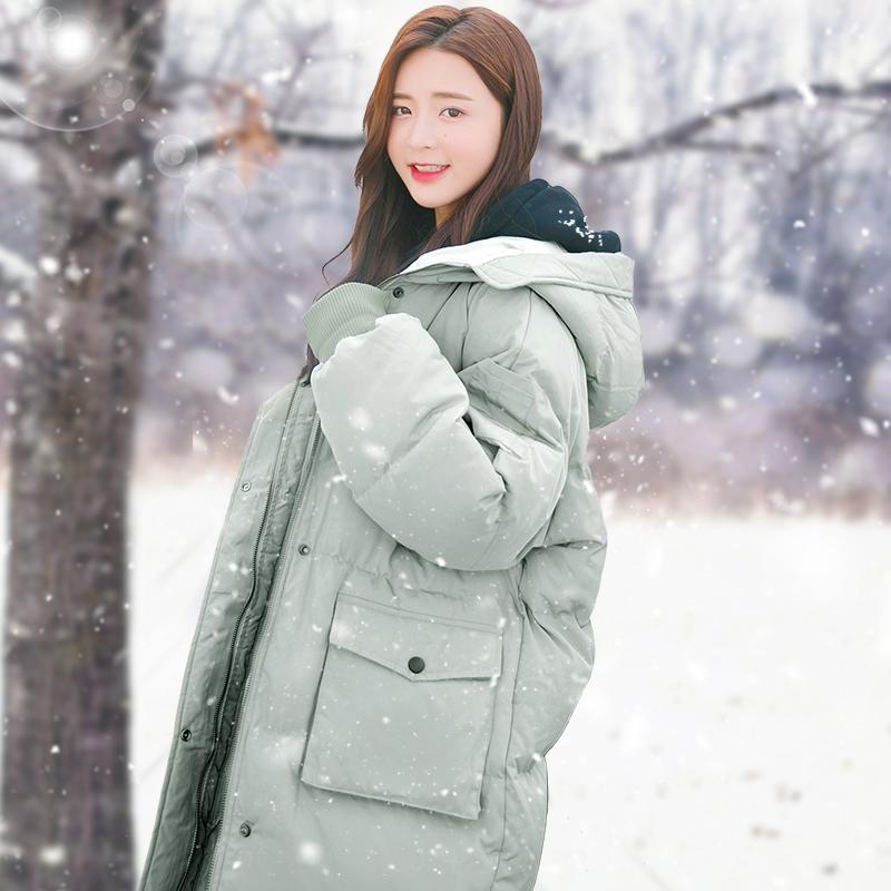 爆款面包羽绒棉服女中长款2019新款韩版宽松学生棉衣棉袄外套冬季