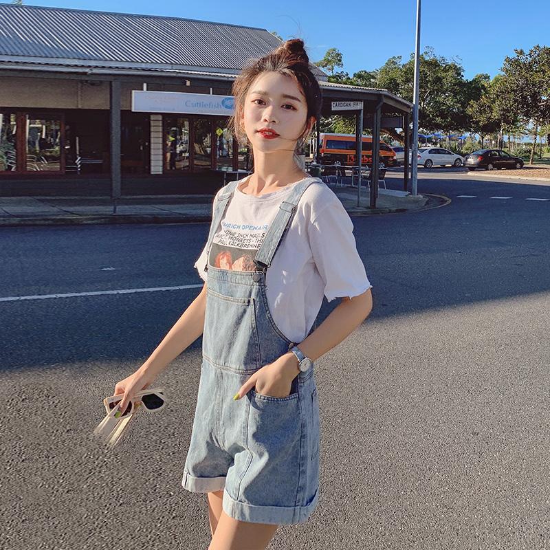 高腰牛仔背带短裤女夏季薄款韩版宽松小个子2021新款阔腿时尚裤子