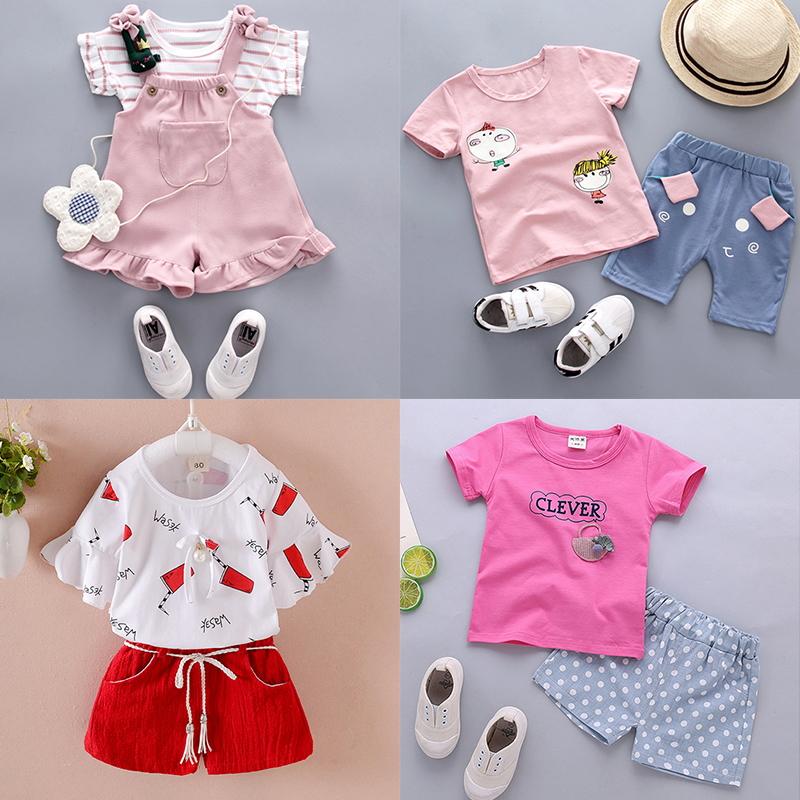 2019新款女童1夏0女宝宝衣服2小女孩3岁婴儿童套装短袖韩版童装潮