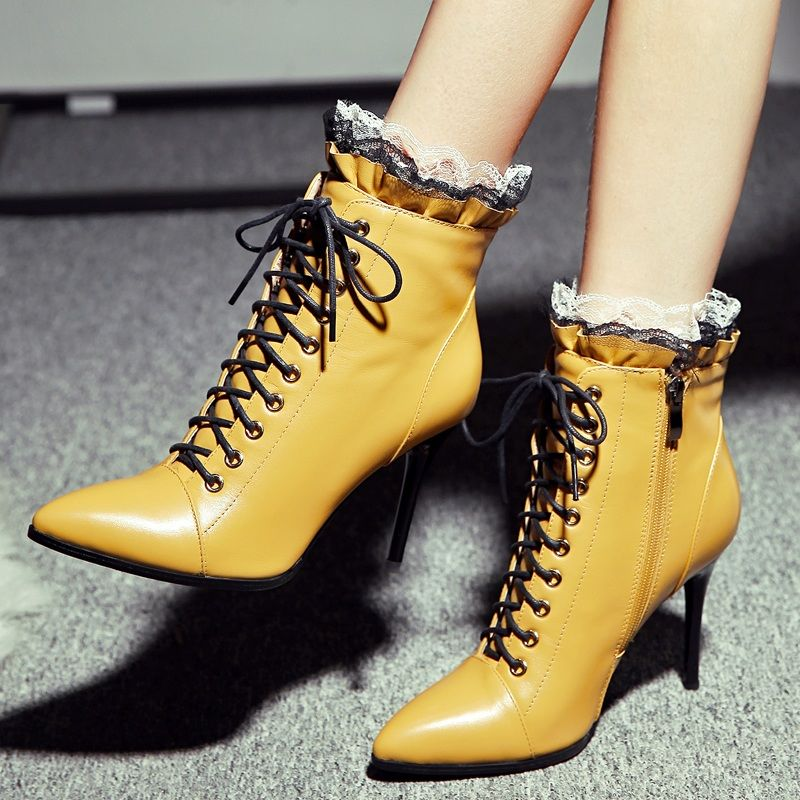 Sexy lace edge winter high heel shoes slim heel short boots spring and autumn single boots leather Plush black yellow female pointed bare boots