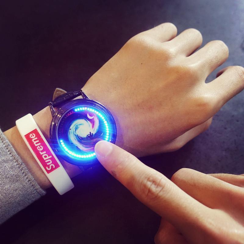 创意夜光时尚简约潮男表女表韩版真皮带个性学生潮流触摸电子手表