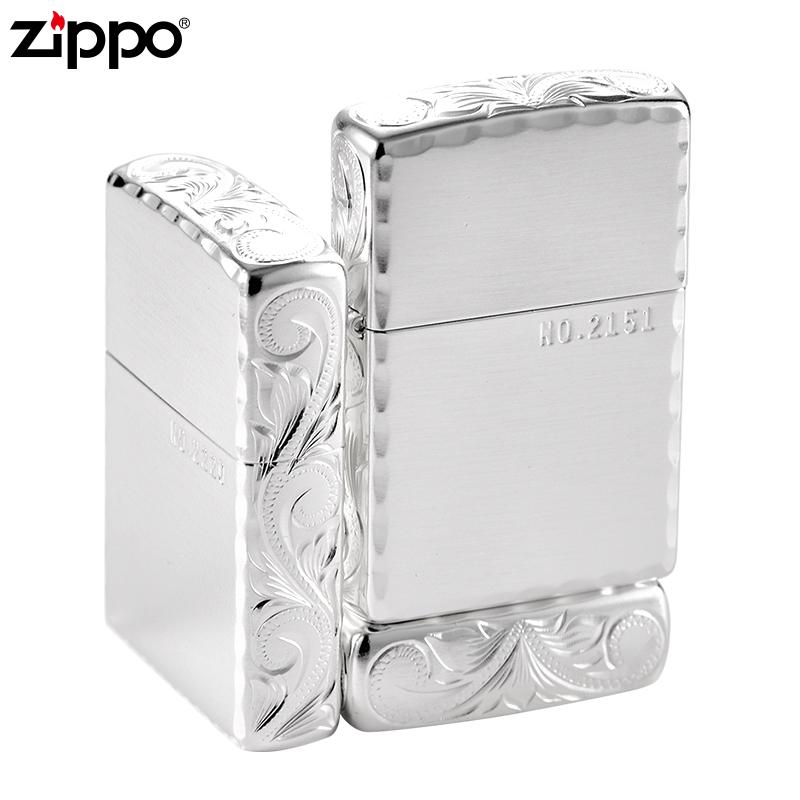 打火机zippo正版纯银镀层收藏级美国正品三面环绕雕刻富贵花 龙zp