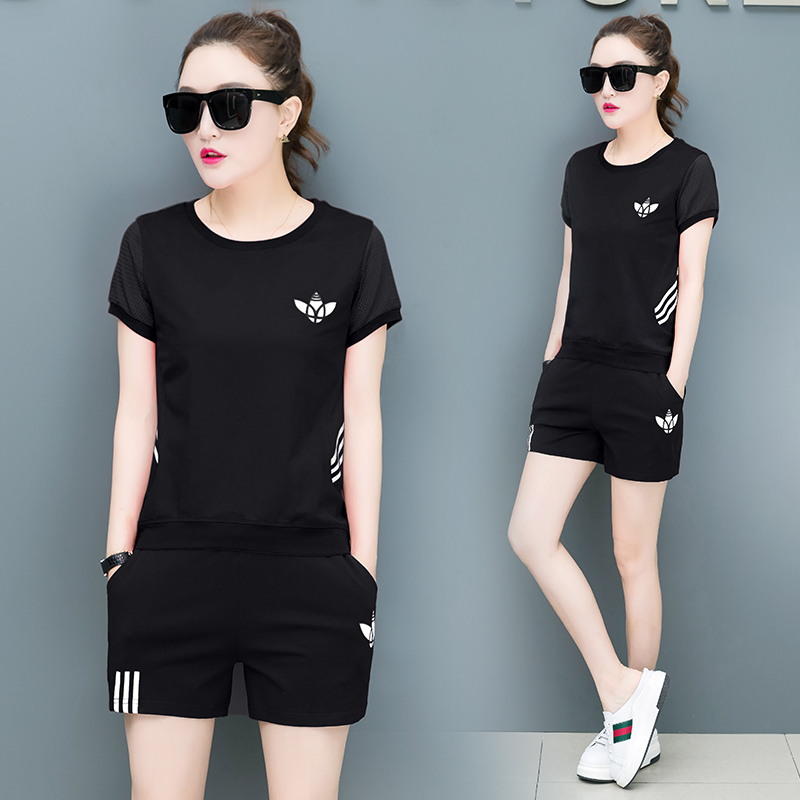 休闲运动服套装女2018夏季新款韩版条纹学生短袖短裤跑步服两件套