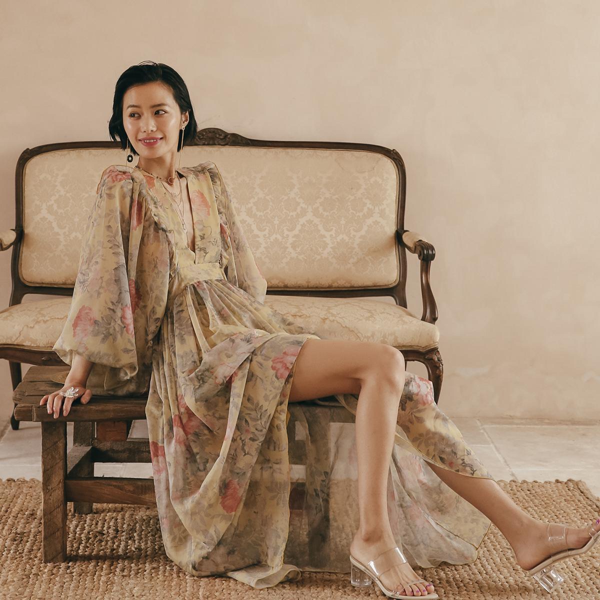 春夏仙女裙泰国海边长裙宫廷灯笼袖印花连衣裙长裙波西米亚沙滩裙