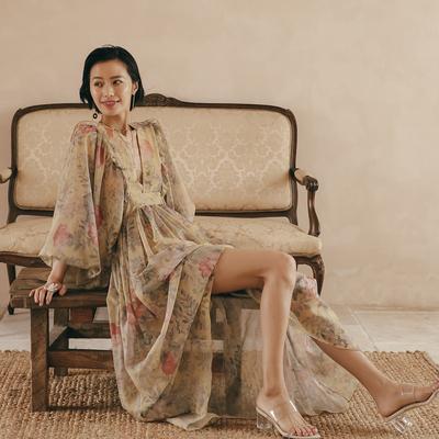 度假女王春夏海边长裙宫廷灯笼袖印花连衣裙长裙波西米亚沙滩裙