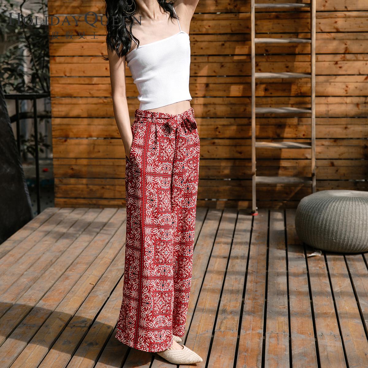 红色印花泰国波西米亚民族风度假沙滩裤女高腰阔腿裤休闲防蚊长裤