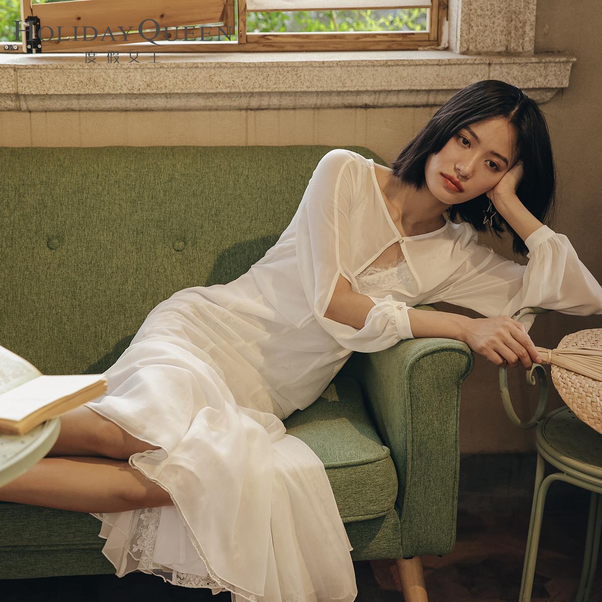 年会时髦洋气蕾丝裙表演礼服连衣裙子写真肖像度假港风白色名媛