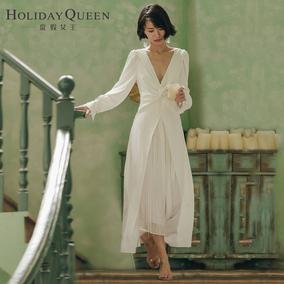 度假女王v领春沙滩裙写真主持礼服
