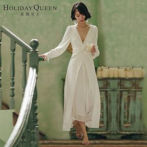 春夏V领度假沙滩裙写真礼服主持表演女装白色雪纺连衣裙长裙子