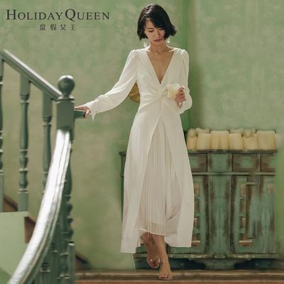 度假女王V领春沙滩裙写真礼服主持表演女装白色名媛连衣裙子长裙