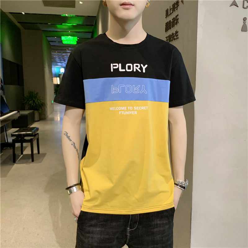 Mens 2020 spring / summer trend new solid color loose print simple short T-shirt and student trend T-shirt