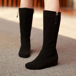 靴子女春夏中靴长靴平跟内增高筒靴平底磨砂皮女靴中筒靴翻毛