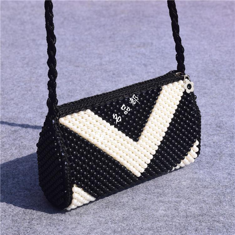 成品手工勾珠串珠包新潮女包时尚复古民族风珍珠包单肩斜挎编织包