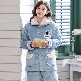 睡衣女冬季三層加厚法蘭絨睡衣套裝秋冬天保暖珊瑚絨夾棉襖家居服圖片