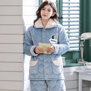 冬季三层天珊瑚绒夹棉袄法兰绒睡衣