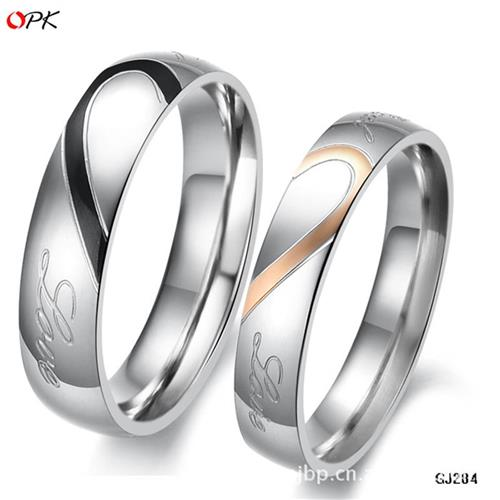 High end fashion heart-shaped puzzle r ring of titanium steel lovers