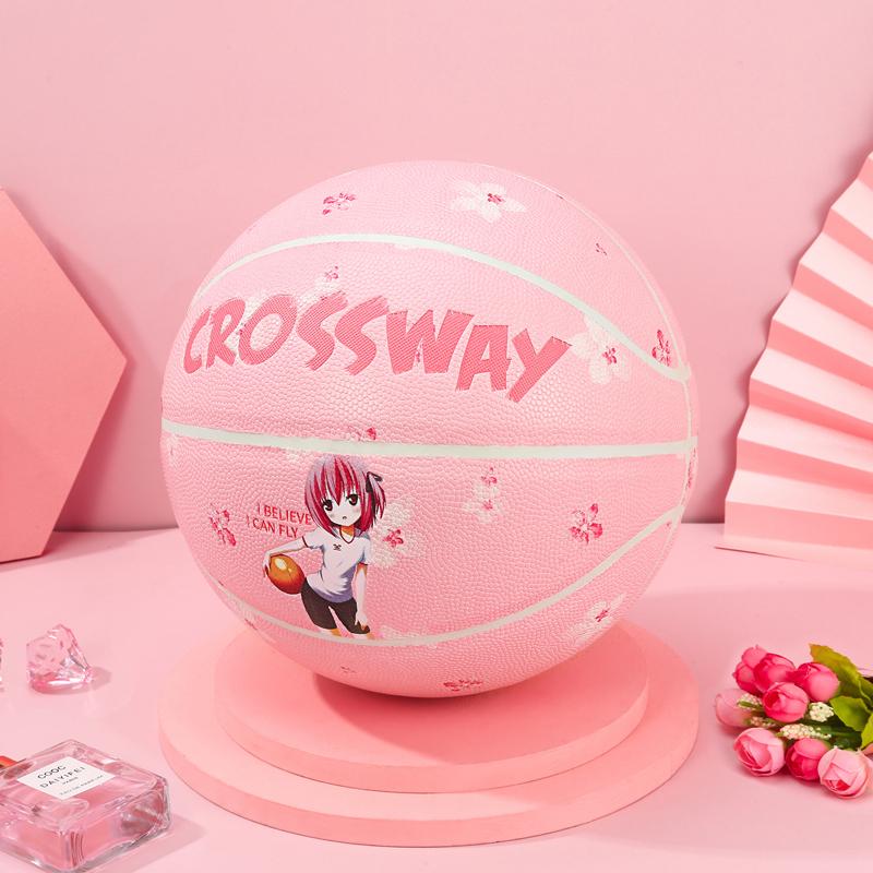 克洛斯威6六号篮球女子比赛7号青少年中大学生中考女生专用樱花粉