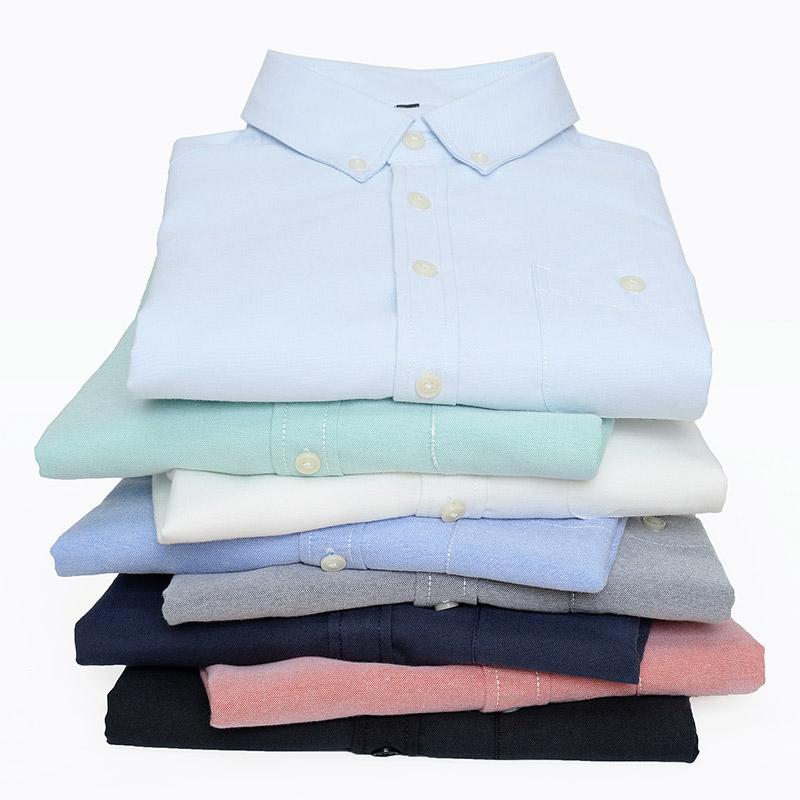 1507-DJ296-P20职业男装新款男牛津纺长袖衬衫男衬衣商务休闲衫