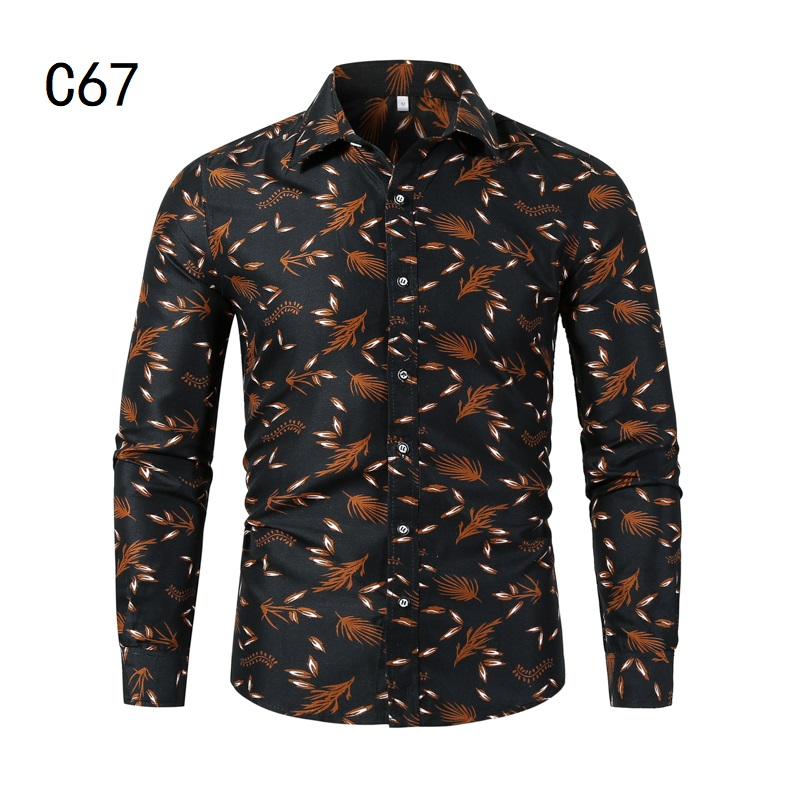 1507-C67-P18男装2021秋装新款大码长袖衬衫花色印花衬衣男装免烫