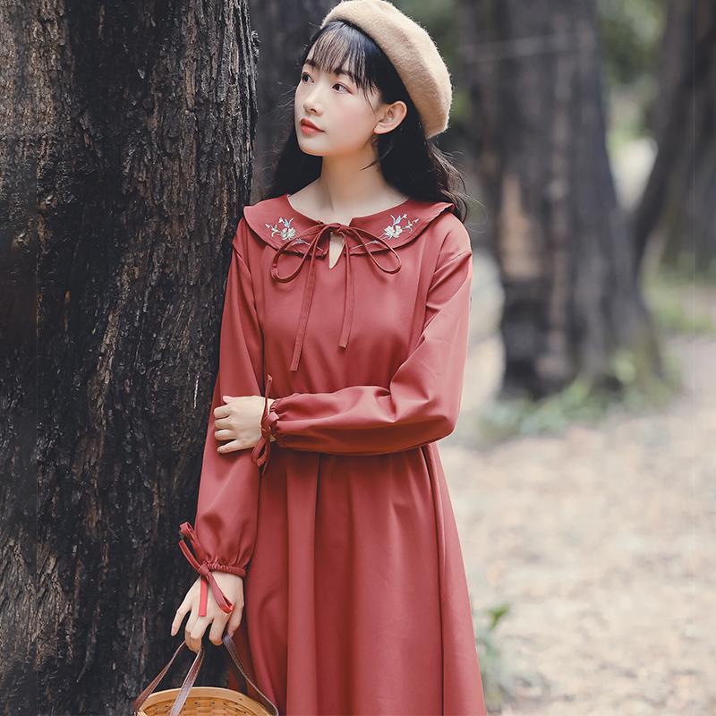 日系女装原宿复古裙桔梗气质连衣裙12月02日最新优惠