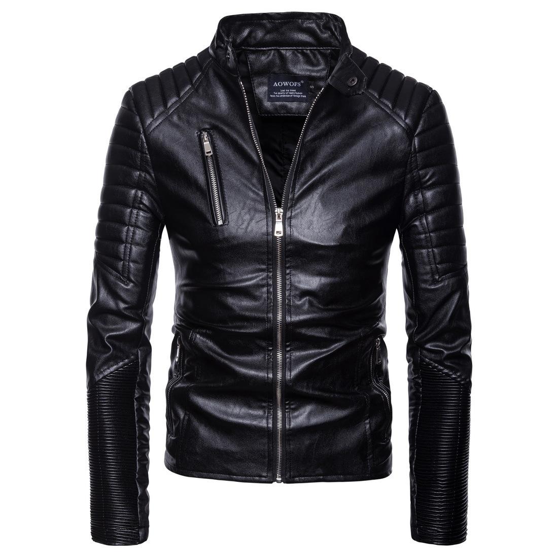 【欧码】亚马逊精品朋克男装机车多拉链皮衣摩托皮衣夹克外套B032