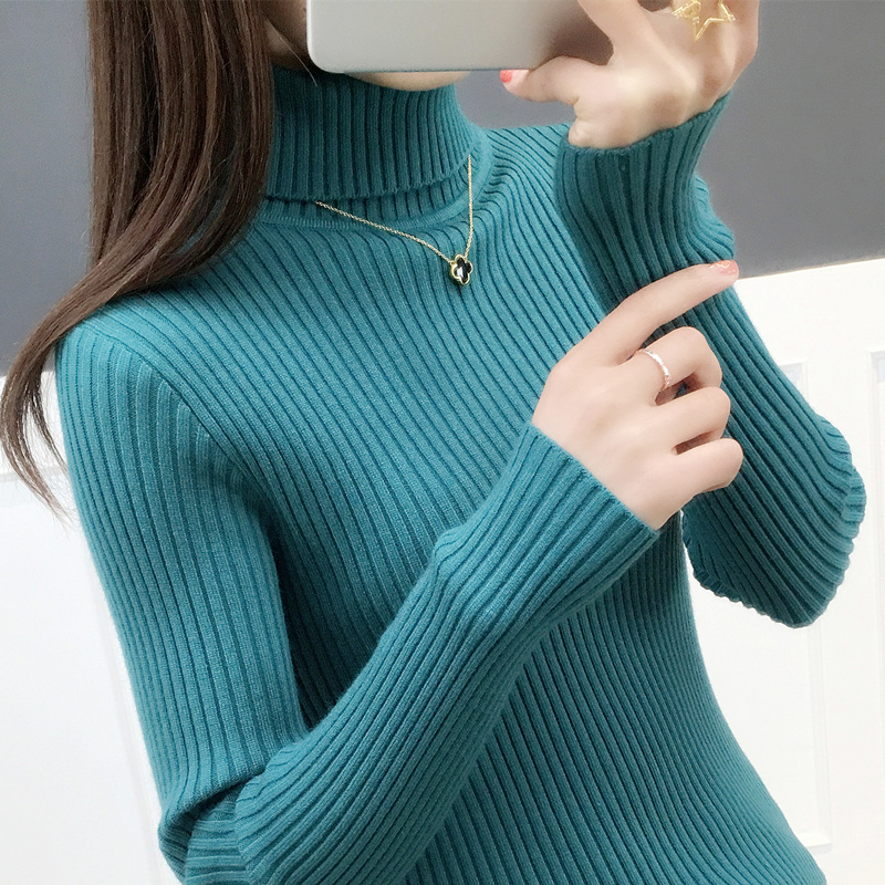 5908实拍新款两翻领坑条修身加厚套头打底衫时髦针织毛衣女