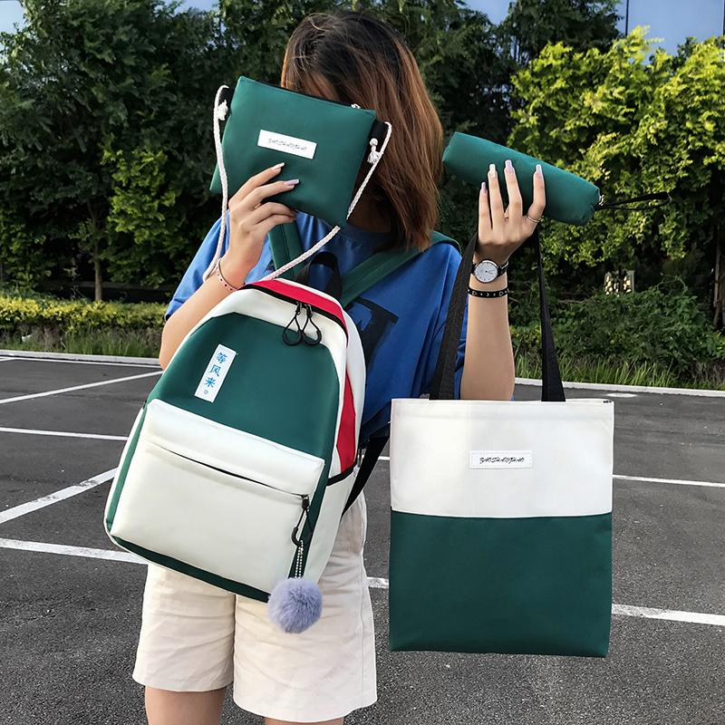 Schoolbag female Korean version junior high school students Canvas Backpack multi piece set simple campus color contrast small fresh Backpack