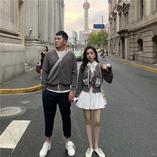 DoggyQin外滩十八号2019秋经典情侣毛衣珍珠开叉针织V领开衫