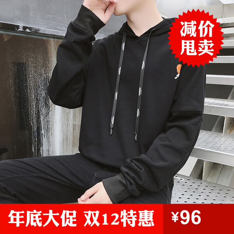 New mens Hoodie in autumn 2018 youth Korean slim fit Pullover Hoodie handsome printed top trend